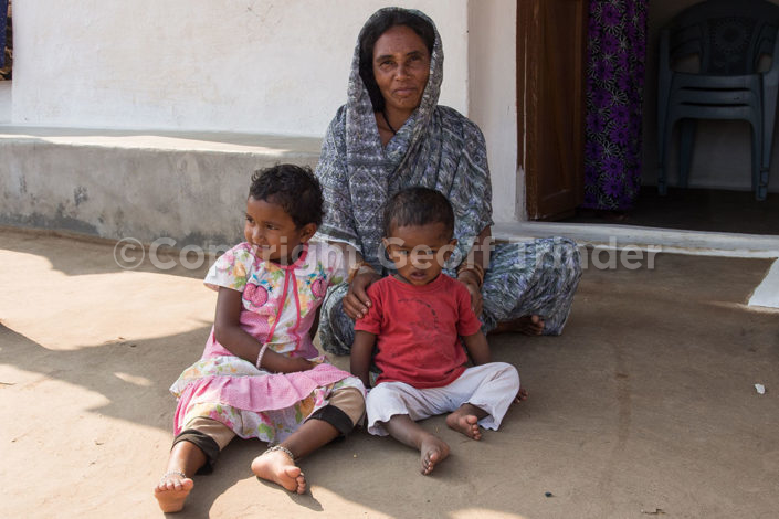 Indian mother and children